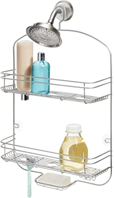iDesign Weston Drill Bathroom Storage, Slim Metal Caddy, Hanging Shelf with 2 Baskets for Shampoo and Shower Gel, Soap Holder and 2 Double Hooks for Razors, Matte Silver, 12 cm x 39.1 cm x 61.5 cm