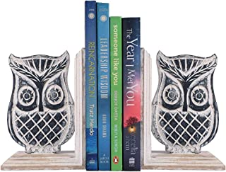 storeindya Wooden Book Ends CD DVD Stand Rack Shelf Decorative Display Pair Bookend Bookshelf Holder Home Office School Library Desk Tabletop Organizer Handcrafted (Owl Shaped)