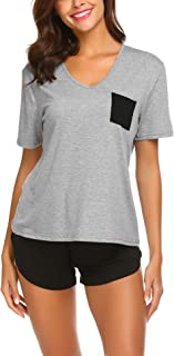 Ekouaer Pajama Set Short Sleeves Sleepwear Womens V Neck Nightwear Pjs with Pocket