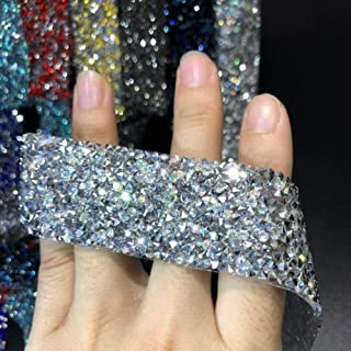 CTOBB Hot Fix Glitter Dress Iron On Rhinestone Transfers Designs Ribbon Shining Hot-Fix Stones para Ropa Decoración Parches Apliques ZD00103CM