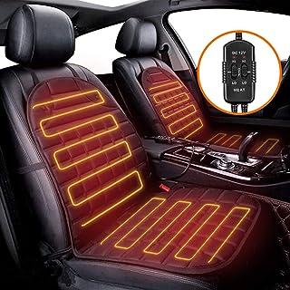 Audew 1 para (2 siedzenia) nakładek grzewczych na fotel samochodowy, 12 V, ogrzewana nakładka na siedzenie samochodowe