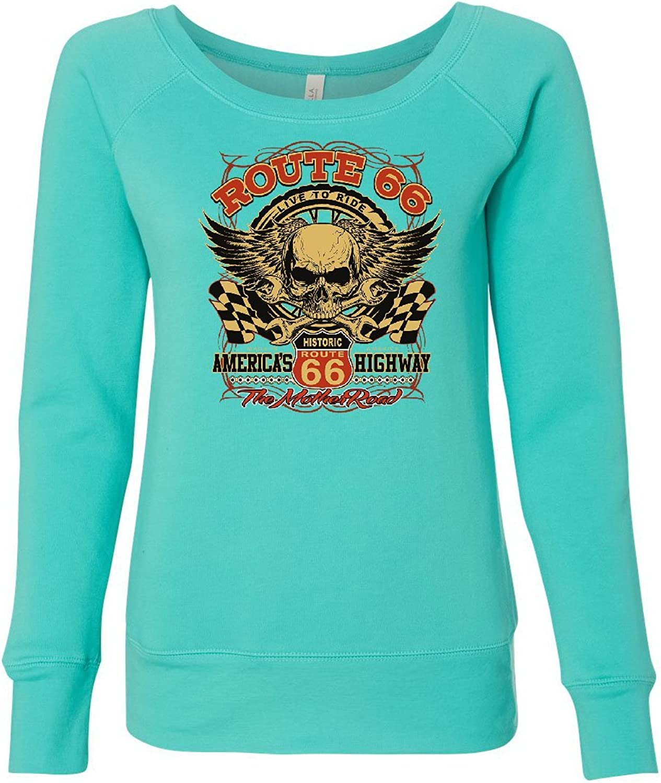 Tee Hunt Route 66 America's Highway Women's Sweatshirt Skull Cross Wrenches Classic