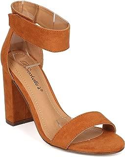Women Leatherette Open Toe Ankle Strap Block Heel Sandal GH04