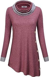 MOQIVGI Womens Long Sleeve Cowl Neck Button Decor Asymmetrical Hem Tunic Tops