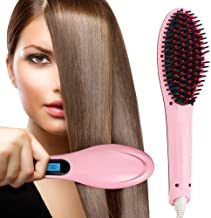 Wazdorf Hair Electric Comb Brush 3 in 1 Ceramic Fast Hair Straightener For Women's Hair Straightening Brush with LCD Screen, Temperature Control Display,Hair Straightener For Women (PINK)
