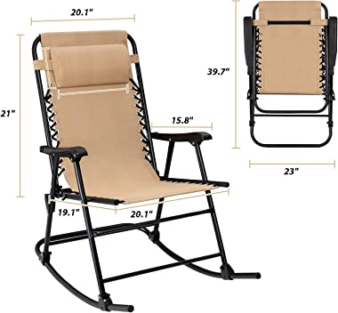 Flamaker Patio Rocking Chair Zero Gravity Chair Outdoor Folding Recliner Foldable Lounge Chair Outdoor Pool Chair for Patio,