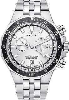 Edox Men's Delfin Quartz Watch with Stainless-Steel Strap, Silver, 22 (Model: 10109 3M AIN)