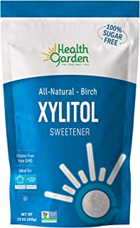 Health Garden Birch Xylitol Sugar Free Sweetener, All Natural, Non GMO (Not from Corn (15 OZ)