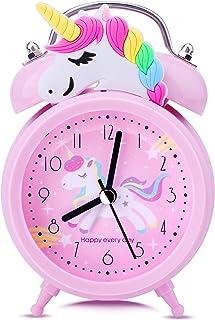 Tyst väckarklocka vid sängen, tickar inte rosa enhörning klocka för flickor sovrum skrivbord, klassisk hög tvillingklocka ...