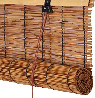 Koovin Roll-Up Blinds-Bamboo Shades-Reed Curtain,Rain-Resistant/Light Filtering Straw Blinds,for Outdoor/Indoor
