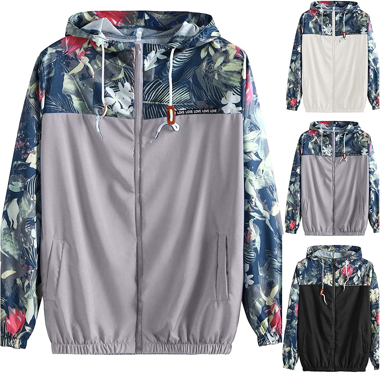 Causal Jackets for Women Zipper Lightweight Jacke Sweatshirt Floral Stitching Printed Hooded Coat