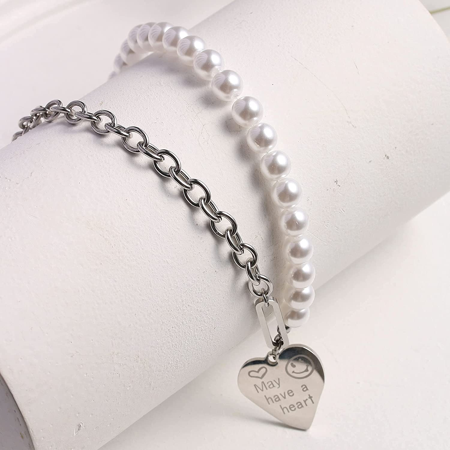 Half Pearl Chain Necklace y2k Smiley Face Cross Heart Coin Chunky Chain Baroque Hip Hop Smiley Face Half Pearl Chocker Necklaces for Women