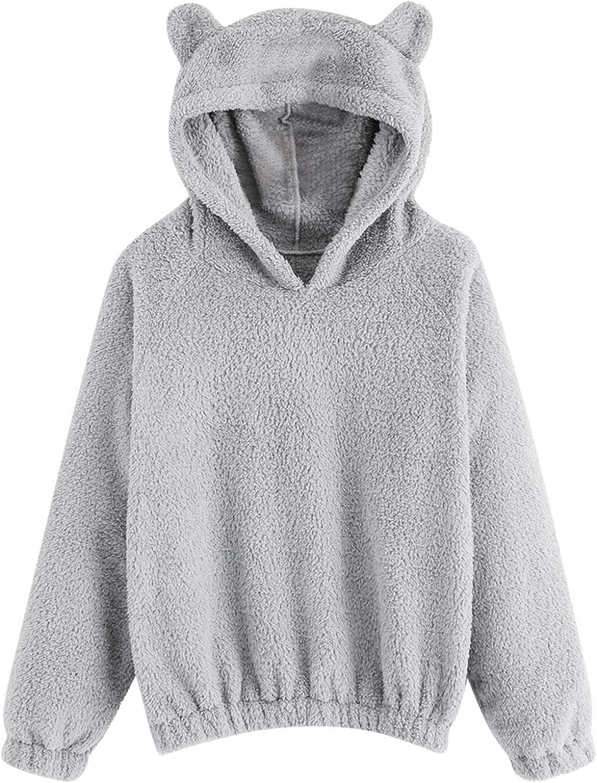 Amaeen Long Sleeve Shirts for Womens Reversible Fleece Sweatershirt Bear Ears Solid Color Shirt Loose Soft Casual Top