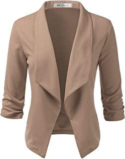 ELF FASHION Women's Lightweight Stretch 3/4 Sleeve Blazer Jacket with Plus Size (Size S~3XL)