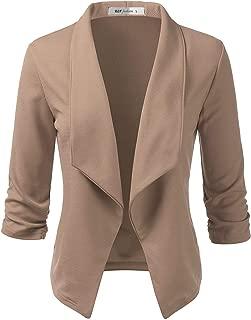 ELF FASHION Women's Lightweight Stretch 3/4 Sleeve Blazer Jacket with Plus Size (Size S~3XL)