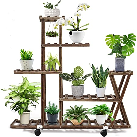 cfmour Wood Plant Stand Indoor Outdoor, Plant Display Multi Tier Flower Shelves Stands, Garden Plant Shelf Rack Holder in Corner Living Room Balcony Patio Yard with 3 Free Gardening Tools