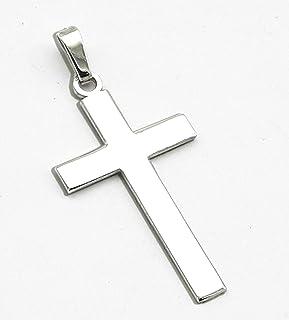 Cruz de Plata -Cruz para Grabar- Colgante cruz para Hombre - Cadena de Plata Hombre