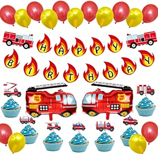 PartyBuzz Fire Truck Party Supplies, Fireman Firefighter Theme Decorations Pack Set, with Cupcake Toppers, Happy Birthday Banner, Firetruck Mylar Balloons