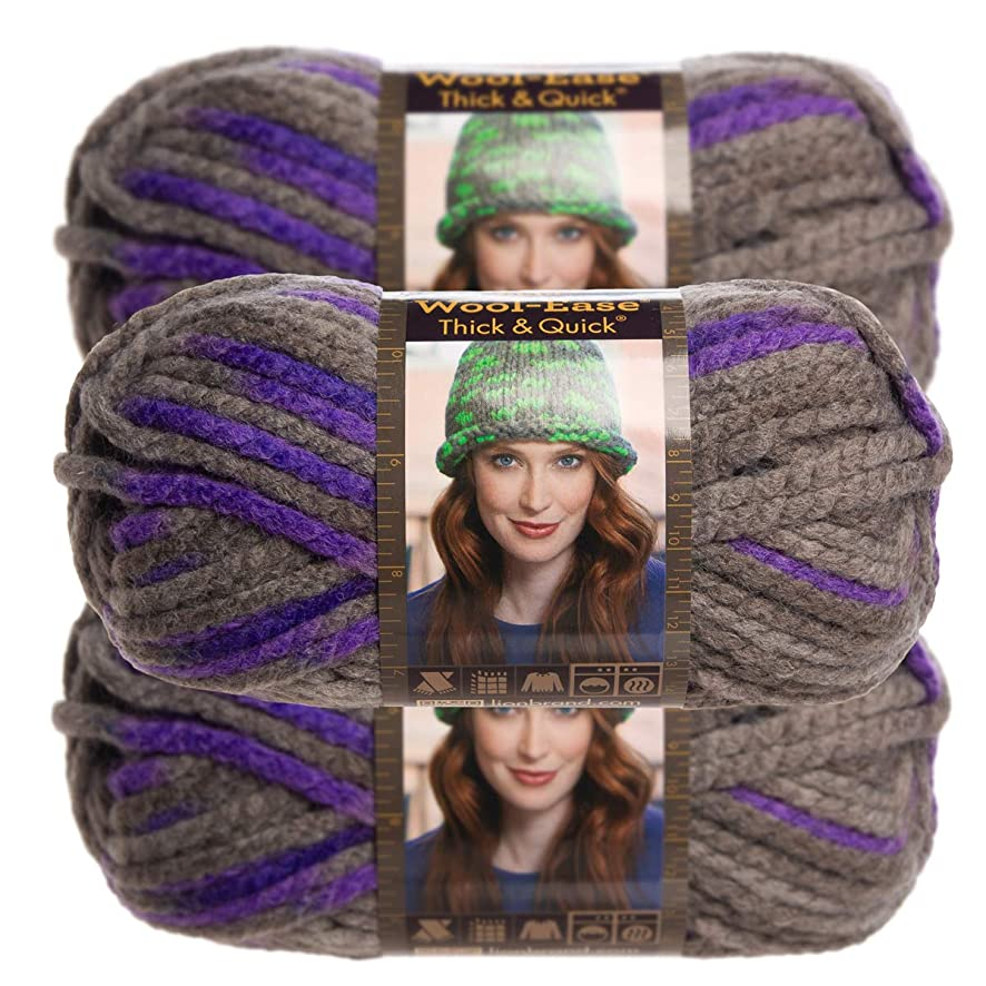 Lion Brand Yarn (3 Pack Wool Ease Super Chunky Yarn for Knitting Crocheting Soft Yarn Bulky #6 (Purple Martin)