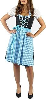 Foxxeo Foxxeo Dirndl für Damen Trachten-Kleid mit Bluse und Schürze - schwarz weiß türkis - Größe XL