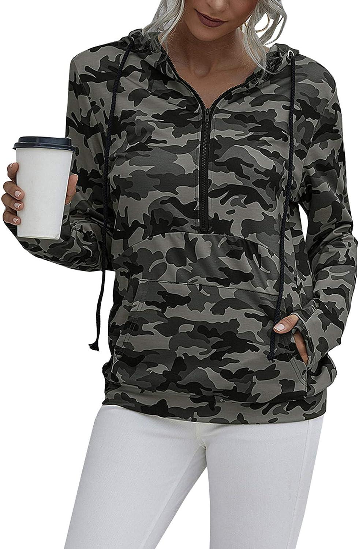 Meilidress Womens Quarter Zip Sweatshirts Hoodie Drawstring Long Sleeve Sport Pullover Tops with Pockets