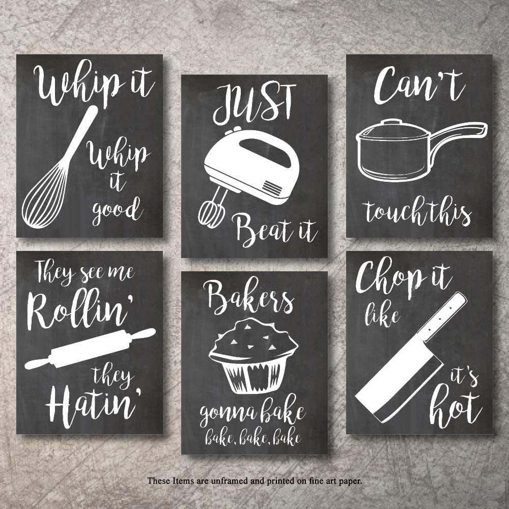 Amazon Com Home Decor Funny Gift 6 Kitchen Wall Art Prints Kitchenware With Sayings Unframed Farmhouse Office Organization Signs Bar Accessories Decorations Sets White House Deco 8 X10 Posters