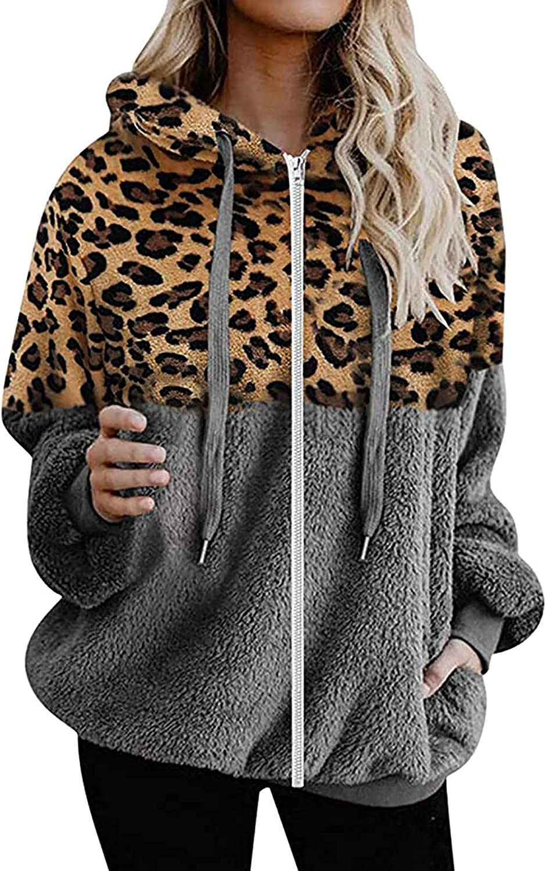 Women's Leopard Fuzzy Fleece Plush Hoodie, Zip Up Long Sleeve Color Block Patchwork Jacket Sweatshirt Coat Outwear
