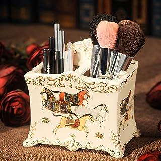 Ceramic Table Pen Holder Marble Pattern Pencil Cup Basin Table Arrangement Rack Makeup Brush Holder
