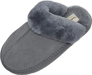 Sheepskin Slippers for Women Cozy Shearling& Suede Upper Fleece Plush Indoor Slip-on 5-11