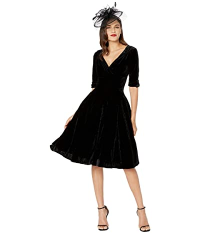 Unique Vintage 1950s Delores Swing Dress with Sleeves (Black Velvet) Women