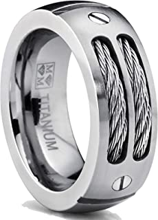 Metal Masters Co. 8MM Men's Titanium Ring Wedding Band with Stainless Steel Cables and Screw Design Sizes 7 to 13