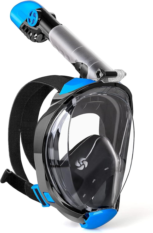 WEWILL Máscara de Buceo,Máscara de Snorkel con Vista Panorámica de 180 ° Diseño de Cara Completa y Compatible con Cámaras Deportivas, Diseño Plegable para Adultos y Niños