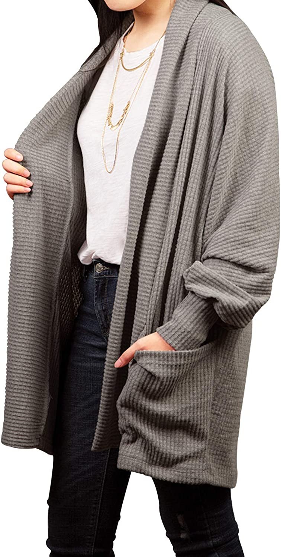 Malibu Days Women's Open Front Knit Sweater Loose Long Pocket Cardigan
