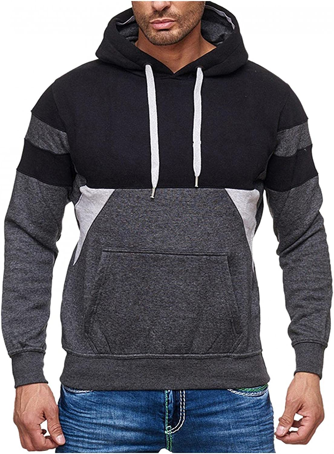 Men's Hoodies Pullover, Mens Autumn Winter Casual Long Sleeve Contrast Color Sports Outwear Hooded Sweatshirts Pockets