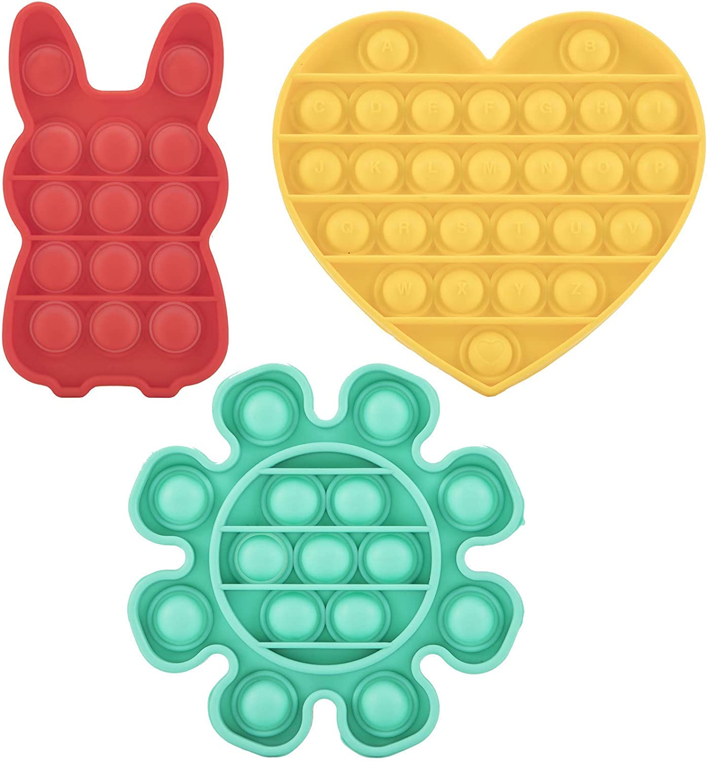 . Red BGFSELF 3PC Push pop Bubble Fidget Sensory Toy,for Relieve Stress Cure People with Autism,for The Young and Kids