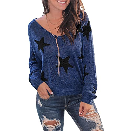 5eaa54eb79909 Womens Off The Shoulder Sweater Long Bat Sleeve Star Oversized Knit Jumper  Pullovers