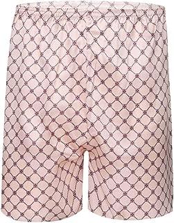 CHICTRY Men's Silk Dragon Geometric Printed Pajamas Shorts Satin Bottoms Sleep Pants Loungewear