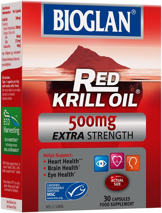 Bioglan 500mg Red Krill Oil mart Capsules - excellence 30 Pack of