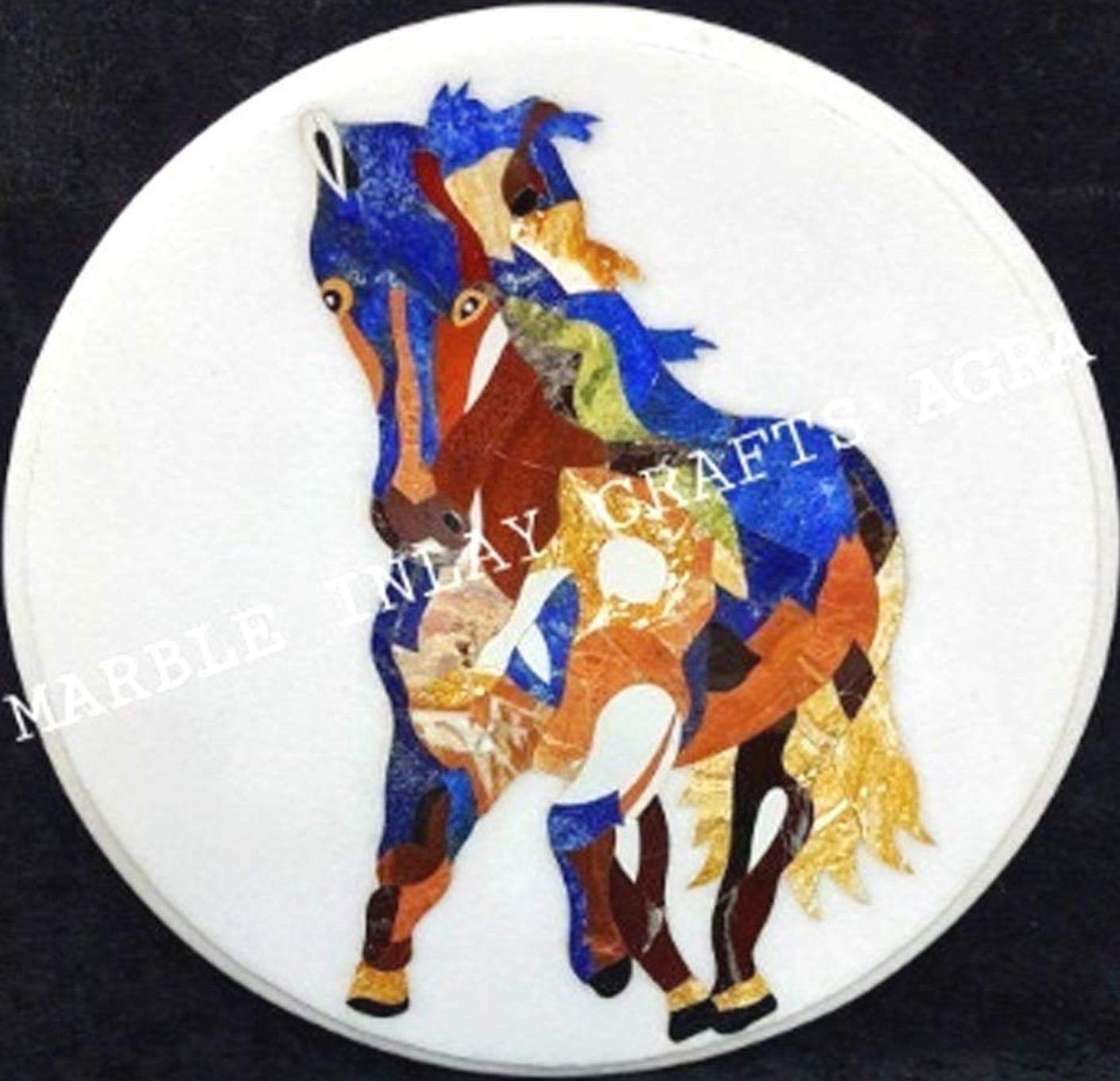 White Free shipping anywhere in the nation Marble Round Horse Inlay Ranking TOP3 Coffee Table Modern Decor Gif Art