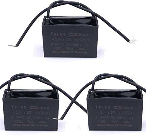 Taiss CBB61 10uf Ceiling Fan Capacitor for New Tech 2 Wire 50//60Hz 450VAC 2 pack