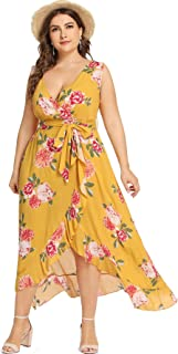 8d571a67c20 Milumia Plus Size Fit and Flare Empire Waist Floral Printed Sleeveless Dress  V Neck Sundress
