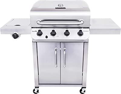 Char-Broil 463375919 Performance Stainless Steel 4-Burner Cabinet Style Liquid Propane Gas Grill & 3-4 Burner Large Performance Grill Cover- Tan