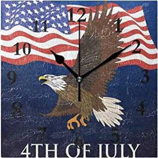 FunnyCustom Independence Day July 4 Eagle Square Wall Clock 7.8 Inch Hanging Clock for Living Room/Kitchen/Bedroom