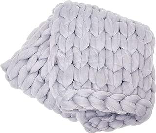 ColeyBear Light Grey Boho Home Decor Blanket (40in x 60in) - Big Chunky Yarn Knit Blankets - Handmade Oversized Throw Comforter - Massive Hand Knitted Throw Blanket (Light Grey)