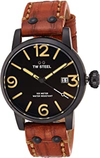 Tw Steel Men'S Black Dial Leather Band Watch - Ms31
