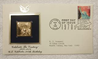 The U.S. Celebrates 200th Birthday - Celebrate the Century (The 1970s) - FDC & 22kt Gold Replica Stamp plus Info Card - Postal Commemorative Society, 1999 - Bicentennial, July 4, 1976, Statue Of Liberty