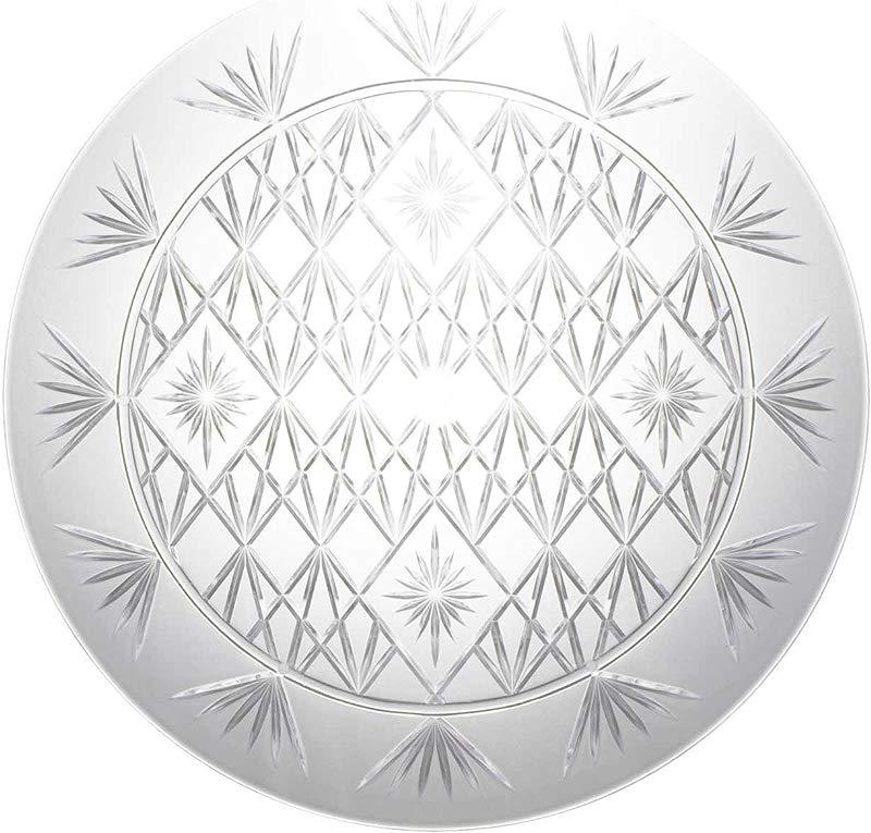 Party Essentials N1312 Heavy Duty Diamond Cut Plastic Round Tray 13 Diameter Crystal Clear Case Of 12
