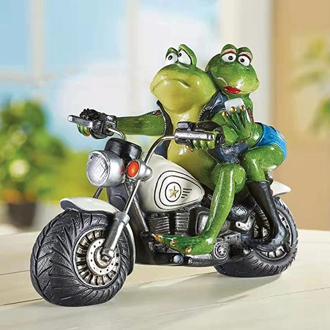 Amazon.com: Funny Frog Statue Garden Decor, Unique Frog Couple and Motorcycle Fairy Garden Decoration, Resin Indoor and Outdoor Decoration, Lawn Decoration, Yard Decoration, Desktop Decoration, Pond Decoration : Home & Kitchen