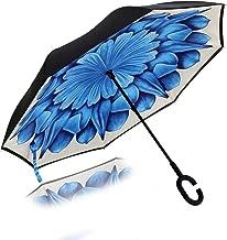 Reverse Folding Inverted Umbrella Double Layer Wind Proof UV Proof Inside Out Car Self Standing Umbrella (Blue Lotus_Dahlia)