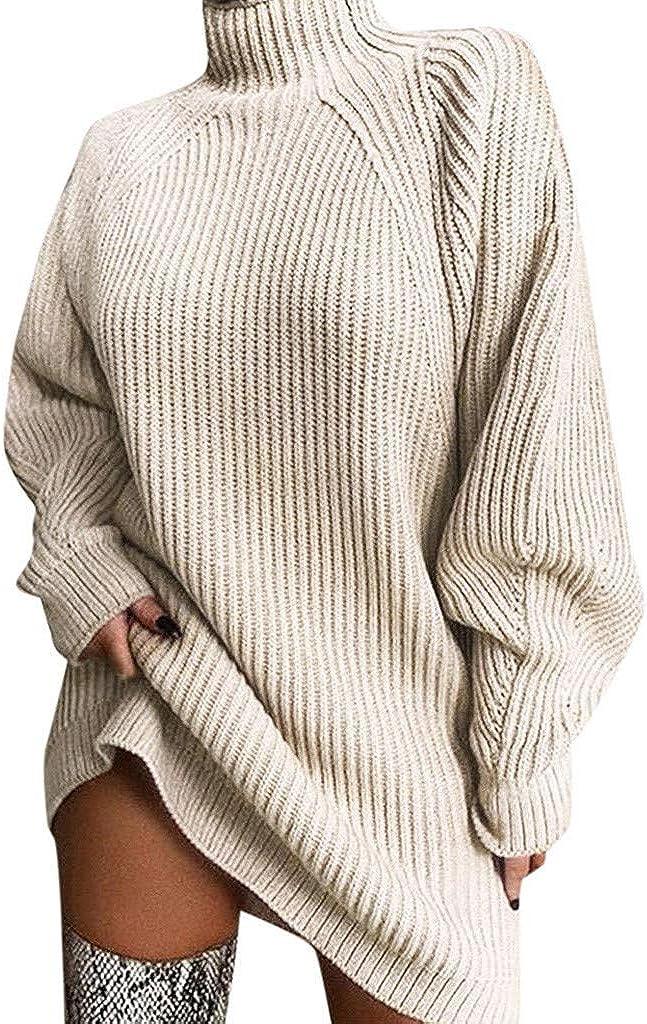 FABIURT Women's Solid Long Sleeve Turtleneck Sweater Loose Warm Knitted Pullover Sweater Dress